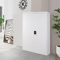 4 Tier Office Filing Cabinet Metal Storage Cupboard Locker Shelf, Light Grey