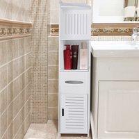 4 Tier White Bathroom Cabinet Corner Cupboard Storage Shelf