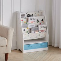 4 Tiers Children Bookcase Toy Book Storage Display Stand Storage with Drawers,A