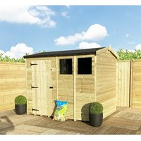 Marlborough Workshops(bs) - 4 x 6 **Flash Reduction** REVERSE Super Saver Pressure Treated Tongue And Groove Single Door Apex Shed (High Eaves 74) +