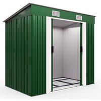 Deuba Garden Metal Tool Shed Size and Colour Choice Galvanised Green Anthracite Brown Roofed Outdoor Storage (Green)