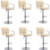 6 x Bar Stools Set with Backrest and Armrest | Leatherette Exterior | Height Adjustable and Adjustable Swivel Gas Lift | Chrome Footrest | for Bar,
