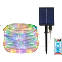 40ft/100leds Solar Powered LED String Lights Remote Control Color Changing 8 Modes Copper Wire Decorative Christmas Decorative Lights Waterproof