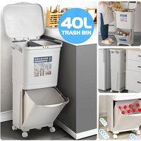 40L Waste Bin Double Deck Sorting Bins Single Lid Kitchen Wa