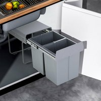 40Litre Pulll Out Recycling Waste Bin Kitchen Cabinet Base Unit 400mm Soft Close 2x20L - LIVINGANDHOME