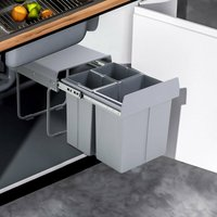 40Litre Pulll Out Recycling Waste Bin Kitchen Cabinet Base Unit 400mm Soft Close 2x10L+20L - LIVINGANDHOME