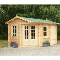 Worcester Log Cabins(f) - 4.0m x 2.8m Corner Log Cabin With Glazed Double Doors (RIGHT) - 34mm Wall Thickness **Includes Free Shingles**