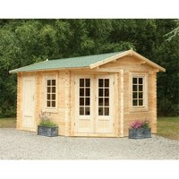 4.0m x 2.8m Unique Log Cabin With Glazed Double Doors (LEFT) - 34mm Wall Thickness **Includes Free Shingles**
