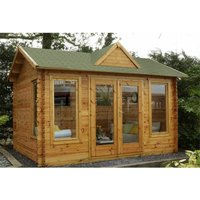 Worcester Log Cabins(f) - 4.0m x 3.0m Reverse Log Cabin With Double Doors + 3 Large Windows - 34mm Wall Thickness **Includes Free Shingles**