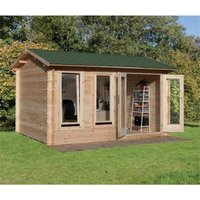 Worcester Log Cabins(f) - 4.0m x 3.0m Reverse Log Cabin With Double Doors - 34mm Wall Thickness **Includes Free Shingles**