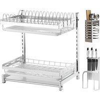 40x28x42cm 2-tier 201Stainless Steel Silver Dish Drying Rack for Kitchen Dishes Bowl Cup Dryer Drainer Holder Utensil Tableware Dinnerware Rustproof