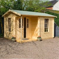 Cheshire Log Cabins(r) - 4.2m x 3.3m Home Office Apex Log Cabin - 28mm Wall Thickness