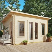 Cheshire Log Cabins(r) - 4.4m x 3.4m Sanctuary Pent Log Cabin - 28mm Wall Thickness