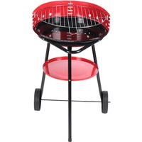 44x44x73cm Portable charcoal barbecue with red kettle trolley