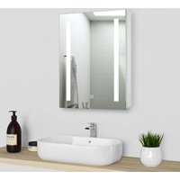500x700mm LED Illuminated Bathroom Mirror Cabinet With Shaver Socket Wall Mounted Aluminum IP44 Cabinet Demister Pad For Makeup Cosmetic