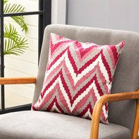Striped Linen Embroidery Decorative Throw Pillow Case Cushion Cover 45cm,Red and White