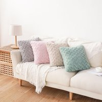 Striped Flannel Decorative Throw Pillow Case Cushion Cover 45cm,Camel