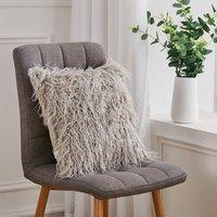 Fluffy Faux Fur Plush Decorative Throw Pillow Case Cushion Cover 45cm,Light Grey