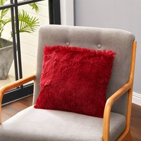 Fluffy Soft Plush Decorative Throw Pillow Case Cushion Cover 45cm,Wine Red