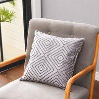 45CM Square Velvet Cloth Geometric Pillowcase Decorative Cushion,Grey