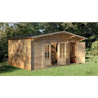 Worcester Log Cabins(f) - 4.5m x 3.5m Leisure Log Cabin With Glazed Double Doors - 34mm Wall Thickness **Includes Free Shingles**