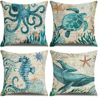 45x45 cushion cover, 4 piece set cotton and linen decoration sofa home decoration super soft pillow cover home decoration living room bedroom sofa