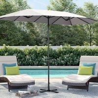 4.6M Garden Double-Sided Parasol Umbrella Patio Sun Shade Crank With Foldable Cross Base, Light Grey