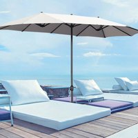 4.6M Garden Double-Sided Parasol Umbrella Patio Sun Shade Crank With Square Base, Light Grey