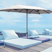 4.6M Garden Double-Sided Parasol Umbrella Patio Sun Shade Crank With Round Base, Light Grey