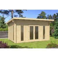 4.7m x 3.2m Budget Apex Log Cabin - Pent (233) - Double Glazing (40mm Wall Thickness) - CLIFTON LOG CABINS