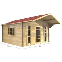 4m x 3m Log Cabin (2052) - Double Glazing (34mm Wall Thickness)
