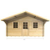 Abingdon - 4m x 4m Log Cabin (2073) - Double Glazing (34mm Wall Thickness)