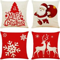 4PCS 18x18 Throw Pillow Covers Christmas Decorative Couch Pillow Cases Cotton Linen Pillow Square Cushion Cover for Sofa, Couch, Bed and Car