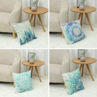 4pcs 45x45cm Pillowcase Square Pillowcase Cushion Linen Home Sofa Bed Decor Flowers and Leaves Print (Only Pillowcase, Pillow Not Included)
