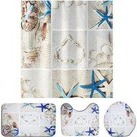 4PCS Bathroom floor mat curtain