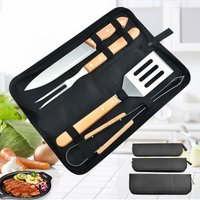 Thsinde - 4PCS BBQ Utensils, Premium Stainless Steel BBQ Accessories with Wooden Handle, Portable BBQ Kit with Bag for Camping Travel Garden (4pcs)
