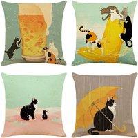 Perle Raregb - 4pcs Cat Cushion Cover Pillowcase Linen Sofa Bed Home Decoration Holiday Cushion Cover 45x45cm