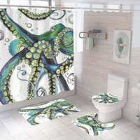 Bearsu - 4PCS Dolphin Shower Curtain Set?Bathroom Shower Curtain Set with Rugs, Non-Slip Toilet Lid Cover,U Mat,Bath Mat with 12 Hooks Ocean Shower