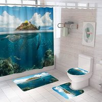 4PCS Dolphin Shower Curtain Set,Bathroom Shower Curtain Set with Rugs, Non-Slip Toilet Lid Cover,U Mat,Bath Mat with 12 Hooks Ocean Shower Curtain