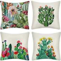 4pcs Mediterranean Cushion Cover Artist Cactus Plant Pattern Pillow Case for Sofa Home Living Room Bedroom Home Decoration, 45x45cm, Set of (Cactus)