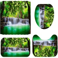 4Pcs Nature Waterfall Printing Bathroom Decor Carpets Rugs Floor Mat Bath Sets