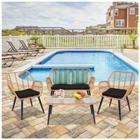 4PCS PE Steel Outdoor Wicker Garden Furniture Rattan Chair Four-Piece Patio Furniture Set Yellow
