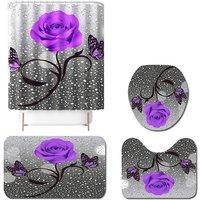 4pcs purple pink bathroom shower curtain set non slip toilet seat cover mat