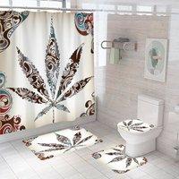 4pcs Sheets Waterproof Bathroom Shower Curtain Toilet Cover Bath Mat Non-slip Mat Set (4pcs / set)