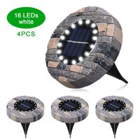 Asupermall - 4Pcs Solar Ground Lights Outdoor Solar Powered Garden Waterproof In-Ground Leds Lamp Pathway Yard Patio Lawn Steps Light,model:White 16