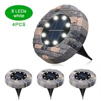 4Pcs Solar Ground Lights Outdoor Solar Powered Garden Waterproof In-Ground Leds Lamp Pathway Yard Patio Lawn Steps Light,model:White 8 Leds