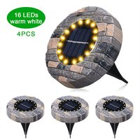 4Pcs Solar Ground Lights Outdoor Solar Powered Garden Waterproof In-Ground Leds Lamp Pathway Yard Patio Lawn Steps Light,model:Warm white 16 Leds