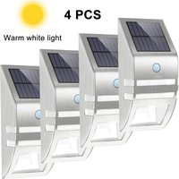 4pcs Stainless Steel Solar Motion Sensor Lights Outdoor Decorative Solar Powered LED Powered Security Lights Waterproof for Front Door Patio Deck