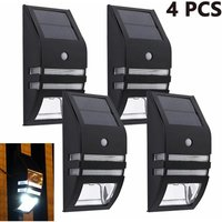 4pcs Stainless Steel Solar Motion Sensor Lights Outdoor Decorative Solar Powered LED Powered Security Lights Waterproof for Front Door Patio Fence