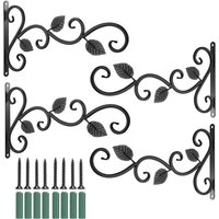 4Pcs Wall-mounted Iron Hooks Plant Holder Decorative Hook for Bird Feeder Flower Pot Lantern Wind Chime,model: 4Pcs